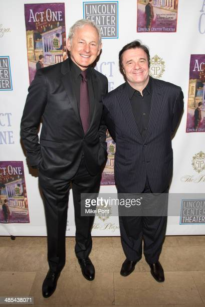 Actors Victor Garber and Nathan Lane attend the opening night party for Act One at The Plaza Hotel on April 17 2014 in New York City