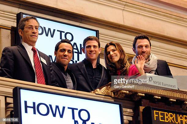 Actors Victor Rasuk Bryan Greenberg Lake Bell and show creator Ian Edelman ring the opening bell at the New York Stock Exchange on February 8 2010 in...