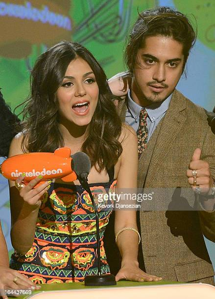 Actors Victoria Justice and Avan Jogia winners of Favorite TV Show for Victorious speak onstage during Nickelodeon's 26th Annual Kids' Choice Awards...