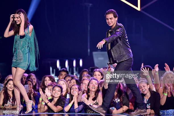 Actors Victoria Justice and Jake T Austin speak onstage during the Teen Choice Awards 2015 at the USC Galen Center on August 16 2015 in Los Angeles...