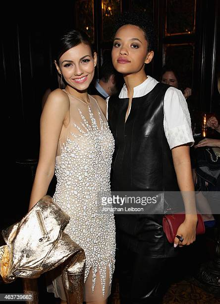 Actors Victoria Justice and Kiersey Clemons attend Vanity Fair and FIAT celebration of Young Hollywood hosted by Krista Smith and James Corden to...