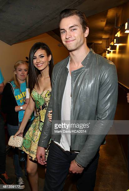 Actors Victoria Justice and Pierson Fode attends Nickelodeon's 27th Annual Kids' Choice Awards held at USC Galen Center on March 29 2014 in Los...