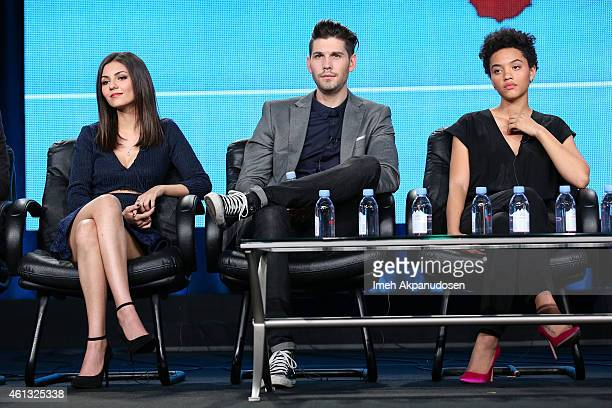 Actors Victoria Justice Casey Deidrick and Kiersey Clemons speak onstage during the Viacom Winter Television Critics Association press tour at The...