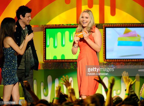 Actors Victoria Justice Cory Monteith and Olympic gold medalist Lindsey Vonn speak onstage during Nickelodeon's 24th Annual Kids' Choice Awards at...