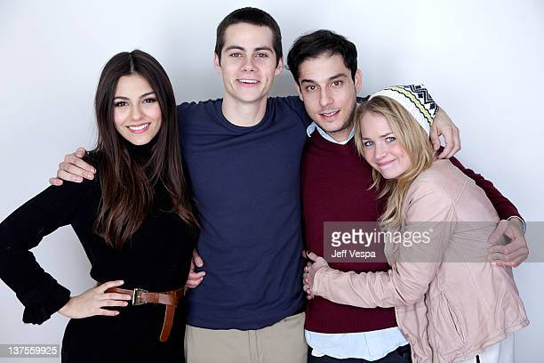 Actors Victoria Justice, Dylan O'Brien, director Jon Kasdan and actress Britt Robertson pose for a portrait during the 2012 Sundance Film Festival at...