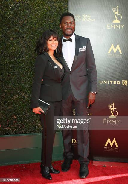 Actors Victoria Rowell and Richard Brooks attend the 45th Annual Daytime Creative Arts Emmy Awards at the Pasadena Civic Auditorium on April 27 2018...