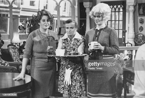 Actors Victoria Wood, Julie Walters and Celia Imrie on the set of parody soap opera 'Acorn Antiques' on the 'Victoria Wood As Seen on TV' television...