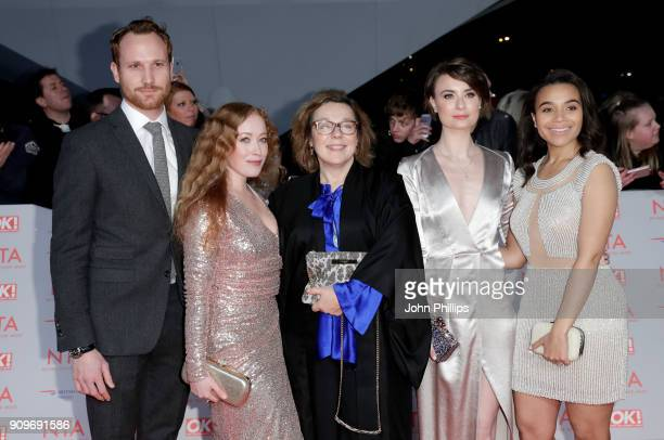Actors Victoria Yeates Annebella Apsion Jennifer Kirby and Leonie Elliot from 'Call The Midwife' attend the National Television Awards 2018 at the O2...