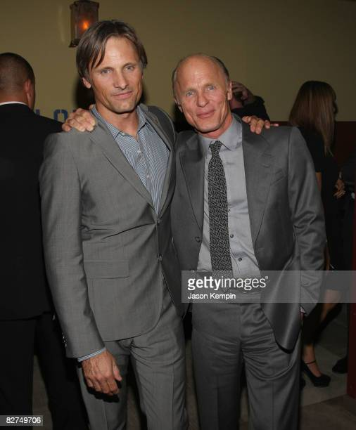 Actors Viggo Mortensen and Ed Harris attend the after party for Appaloosa hosted by The Cinema Society and Vanity Fair at the Tribeca Grand Screening...