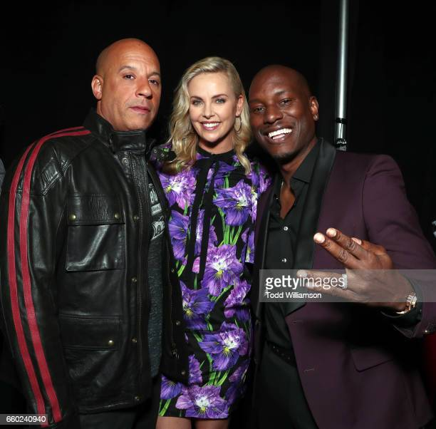 Actors Vin Diesel and Charlize Theron and singer Tyrese Gibson at CinemaCon 2017 Universal Pictures Invites You to a Special Presentation Featuring...