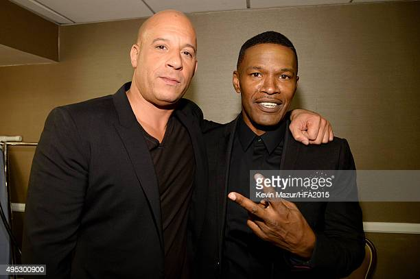Actors Vin Diesel and Jamie Foxx attend the 19th Annual Hollywood Film Awards at The Beverly Hilton Hotel on November 1 2015 in Beverly Hills...