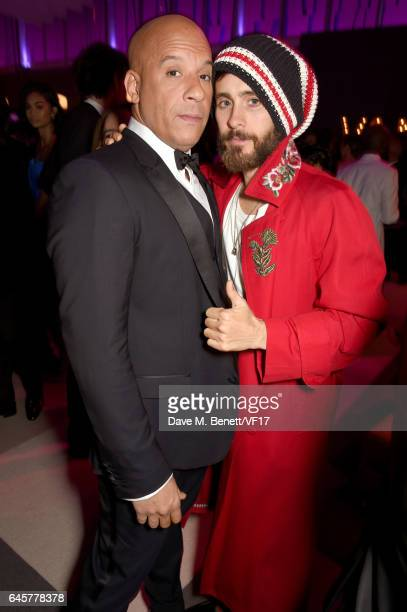 Actors Vin Diesel and Jared Leto attend the 2017 Vanity Fair Oscar Party hosted by Graydon Carter at Wallis Annenberg Center for the Performing Arts...