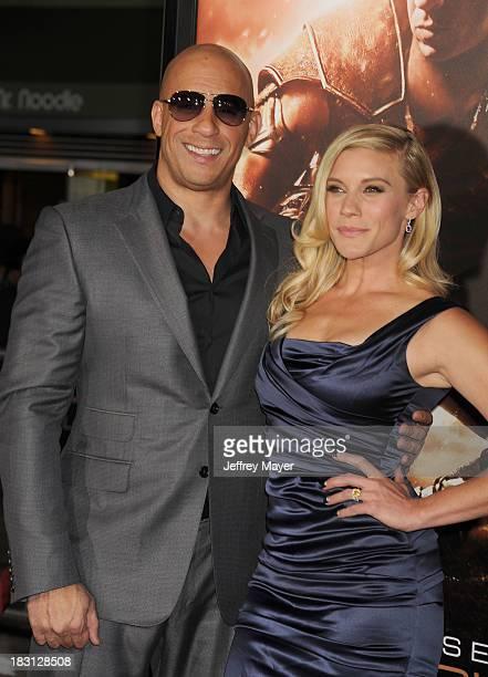 Actors Vin Diesel and Katee Sackhoff arrive at the Los Angeles premiere of 'Riddick' at the Westwood Village Theatre on August 28, 2013 in Westwood,...