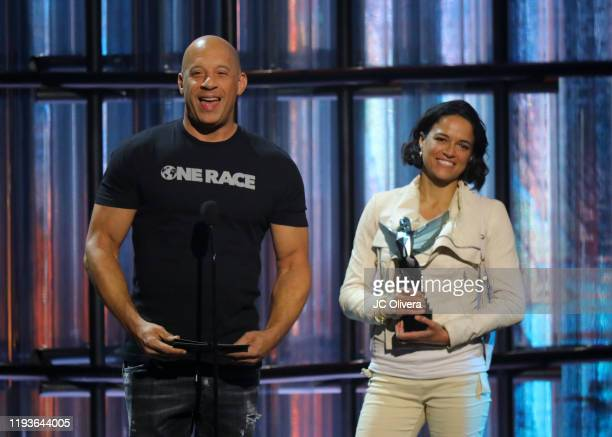 Actors Vin Diesel and Michelle Rodriguez speak onstage during The Game Awards 2019 at Microsoft Theater on December 12, 2019 in Los Angeles,...