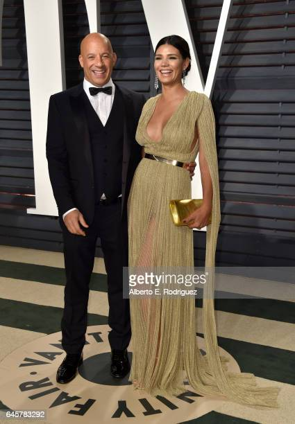 Actors Vin Diesel and Paloma Jimenez attend the 2017 Vanity Fair Oscar Party hosted by Graydon Carter at Wallis Annenberg Center for the Performing...