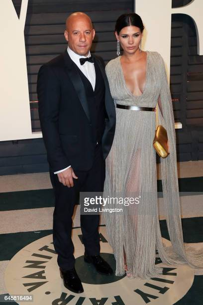 Actors Vin Diesel and Paloma Jimenez attend the 2017 Vanity Fair Oscar Party hosted by Graydon Carter at the Wallis Annenberg Center for the...