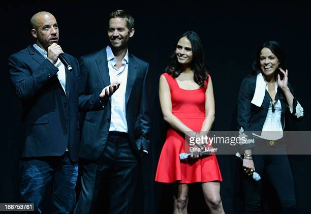 Actors Vin Diesel and Paul Walker and actresses Jordana Brewster and Michelle Rodriguez attend a Universal Pictures presentation to promote their...
