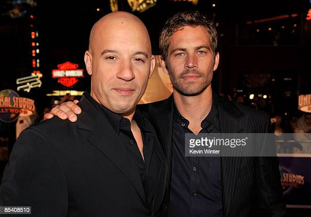 """Actors Vin Diesel and Paul Walker arrive at the premiere Universal's """"Fast & Furious"""" held at Universal CityWalk Theaters on March 12, 2009 in..."""