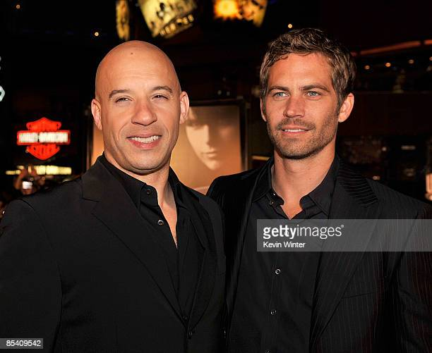 Actors Vin Diesel and Paul Walker arrive at the premiere Universal's Fast Furious held at Universal CityWalk Theaters on March 12 2009 in Universal...