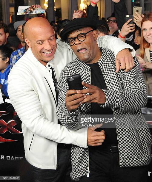 Actors Vin Diesel and Samuel L Jackson arrive at the premiere of Paramount Pictures' 'xXx Return Of Xander Cage' at TCL Chinese Theatre IMAX on...