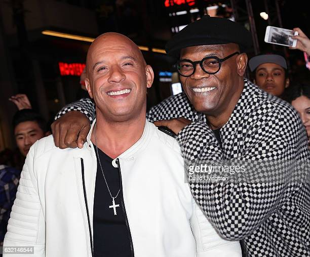 Actors Vin Diesel and Samuel L Jackson attend the premiere of Paramount Pictures' xXx Return of Xander Cage at TCL Chinese Theatre IMAX on January 19...