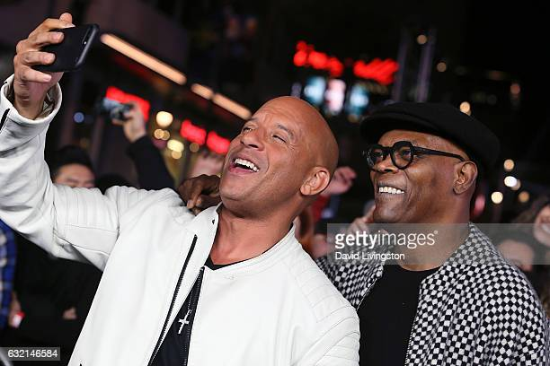Actors Vin Diesel and Samuel L Jackson attend the premiere of Paramount Pictures' 'xXx Return of Xander Cage' at TCL Chinese Theatre IMAX on January...