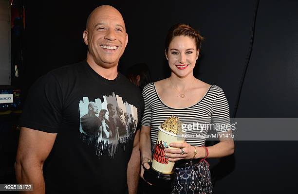 Actors Vin Diesel and Shailene Woodley winner of the MTV Trailblazer Award pose backstage at The 2015 MTV Movie Awards at Nokia Theatre LA Live on...