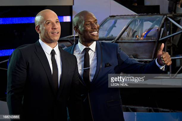 US actors Vin Diesel and Tyrese Gibson arrive at the world premiere of 'Fast and Furious 6' at the Empire cinema in Leicester Square in central...