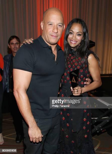 Actors Vin Diesel and Zoe Saldana pose with an award at the NALIP Latino Media Awards at The Ray Dolby Ballroom at Hollywood Highland Center on June...