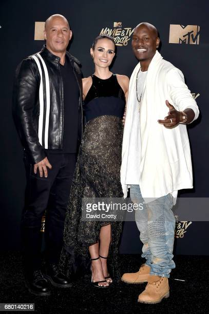Actors Vin Diesel Jordana Brewster and Tyrese Gibson who accepted the MTV Generation Award on behalf for 'The Fast and the Furious' franchise pose in...
