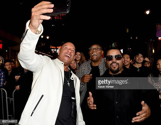 Actors Vin Diesel Samuel L Jackson and Ice Cube arrive at the premiere of Paramount Pictures' xXx Return of Xander Cage at the Chinese Theatre on...