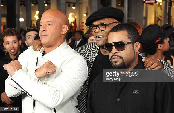 Actors Vin Diesel Samuel L Jackson and Ice Cube arrive at the premiere of Paramount Pictures' 'xXx Return Of Xander Cage' at TCL Chinese Theatre IMAX...
