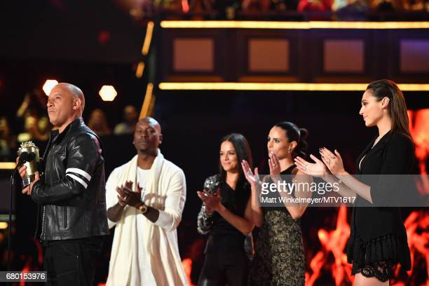Actors Vin Diesel Tyrese Gibson Michelle Rodriguez Jordana Brewster and Gal Gadot accept the MTV Generation Award for 'The Fast and the Furious'...