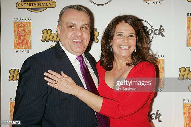 Actors Vince Curatola and Lorraine Bracco arrive at the Bracco Wines Launch at the Hard Rock Cafe on February 25 2008 in New York City