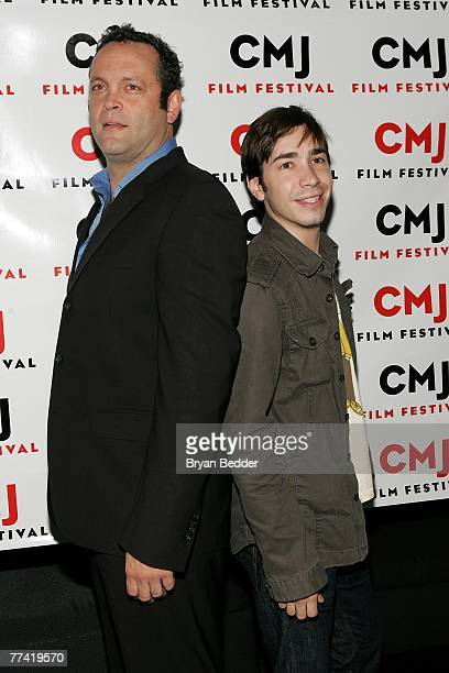 Actors Vince Vaughn and Justin long attend the screening of Vince Vaughn's Wild West Comedy Show presented by the CMJ FilmFest at the IFC Center on...