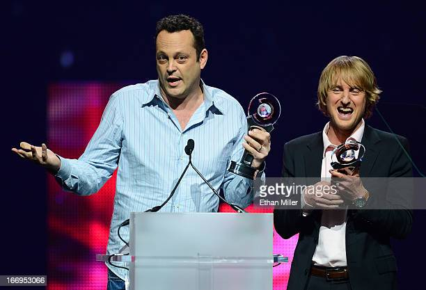 Actors Vince Vaughn and Owen Wilson accept Comedy Duo of the Year Award at the CinemaCon awards ceremony at The Colosseum at Caesars Palace during...