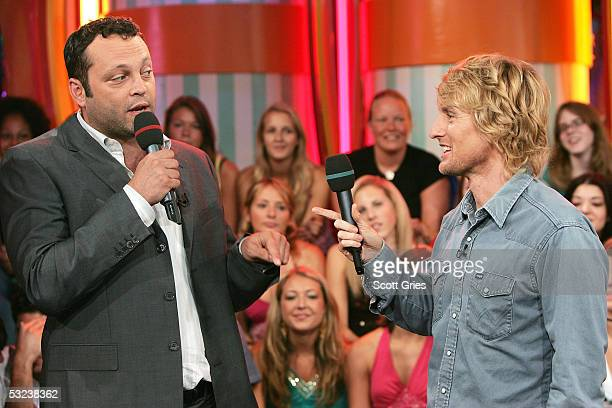 Actors Vince Vaughn and Owen Wilson appear onstage during MTV's Total Request Live at the MTV Times Square Studios July 14 2005 in New York City