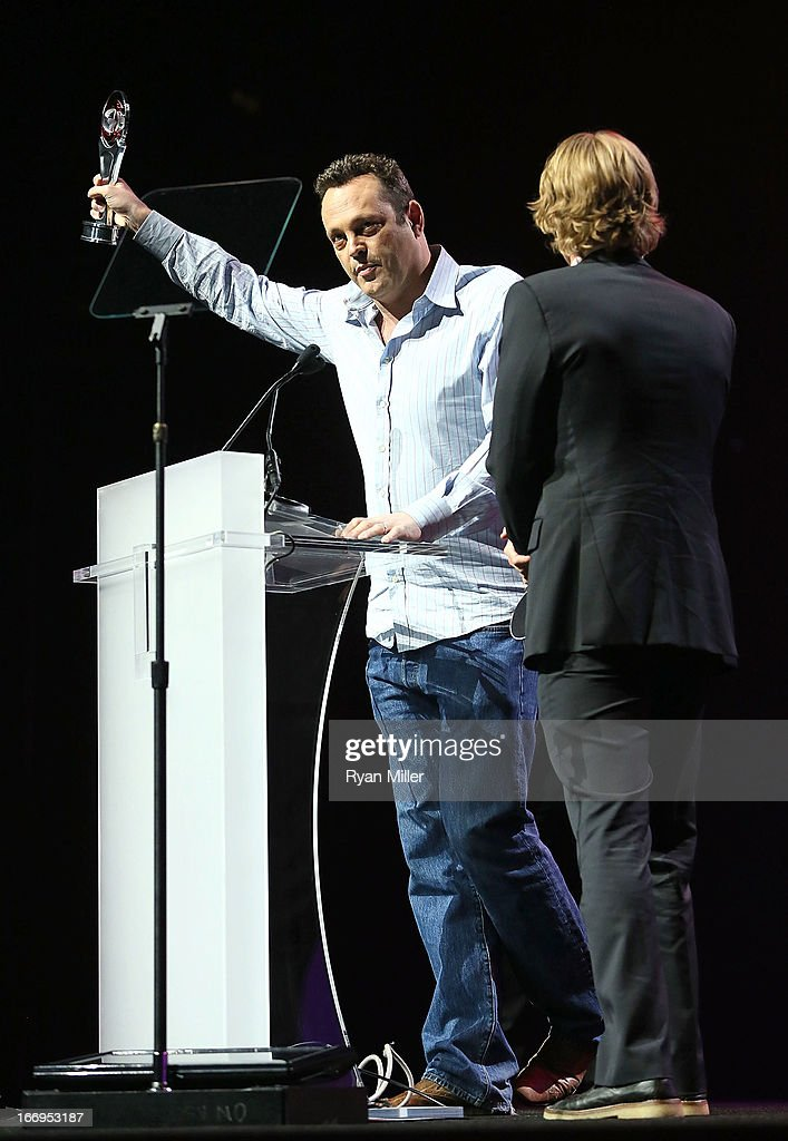 Actors Vince Vaughn (L) and Owen Wilson, co-recipients of the Comedy Duo of the Year award, attend the CinemaCon 2013 Final Night Awards at Caesars Palace during CinemaCon, the official convention of the National Association of Theatre Owners on April 18, 2013 in Las Vegas, Nevada.
