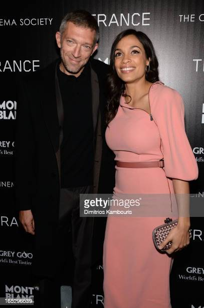 Actors Vincent Cassel and Rosario Dawson attend Fox Searchlight Pictures' premiere of Trance hosted by the Cinema Society Montblanc at SVA Theater on...