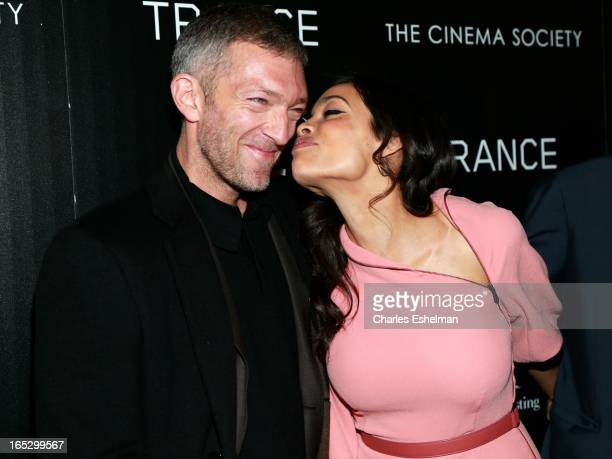 Actors Vincent Cassel and Rosario Dawson attend The Cinema Society Montblanc Host Fox Searchlight Pictures' Trance at SVA Theatre on April 2 2013 in...