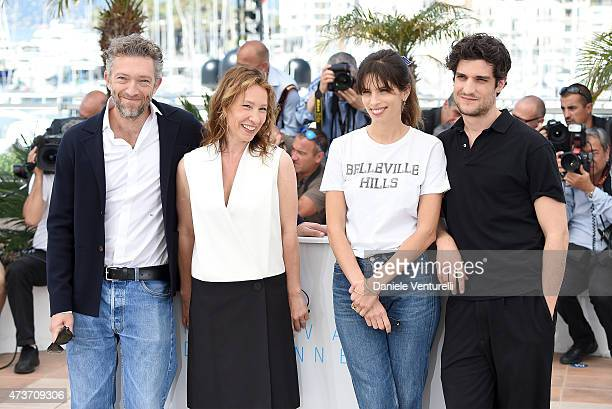 Actors Vincent Cassel Emmanuelle Bercot director Maiwenn and actor Louis Garrel attends 'Mon Roi' Photocall during the 68th annual Cannes Film...
