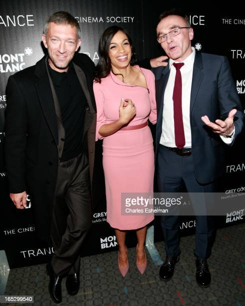 Actors Vincent Cassel Rosario Dawson and director Danny Boyle attend The Cinema Society Montblanc Host Fox Searchlight Pictures' 'Trance' at SVA...