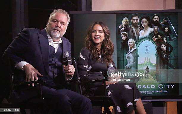 Actors Vincent D'Onofrio and Adria Arjona attend the Build series to discuss 'Emerald City' at AOL HQ on January 4 2017 in New York City