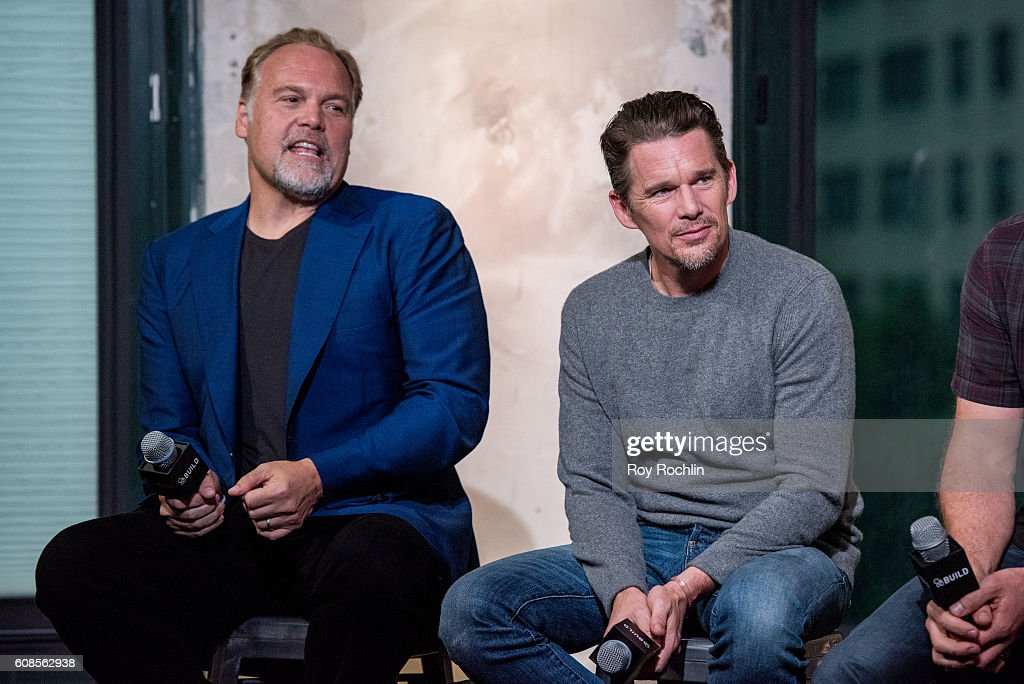 Actors Vincent D'Onofrio and Ethan Hawke discuss 'The Magnificent Seven' during AOL Build at AOL HQ on September 19, 2016 in New York City.