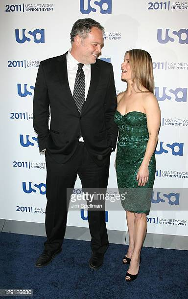 Actors Vincent D'Onofrio and Kathryn Erbe attend the 2011 USA Upfront at The Tent at Lincoln Center on May 2 2011 in New York City