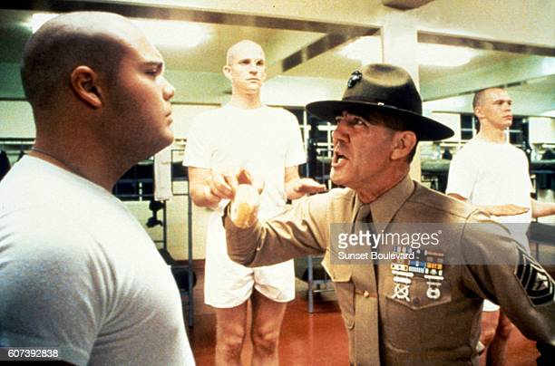 Actors Vincent d'Onofrio Matthew Modine and RLee Ermey on the set of Full Metal Jacket