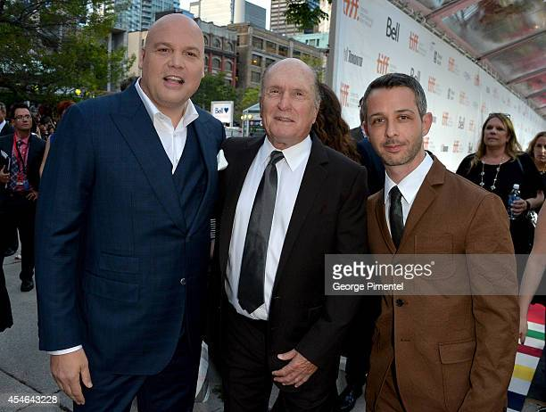 Actors Vincent D'Onofrio Robert Duvall and Jeremy Strong attend The Judge premiere during the 2014 Toronto International Film Festival at Roy Thomson...