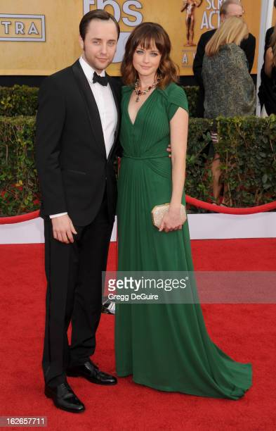 Actors Vincent Kartheiser and Alexis Bledel arrive at the 19th Annual Screen Actors Guild Awards at The Shrine Auditorium on January 27 2013 in Los...