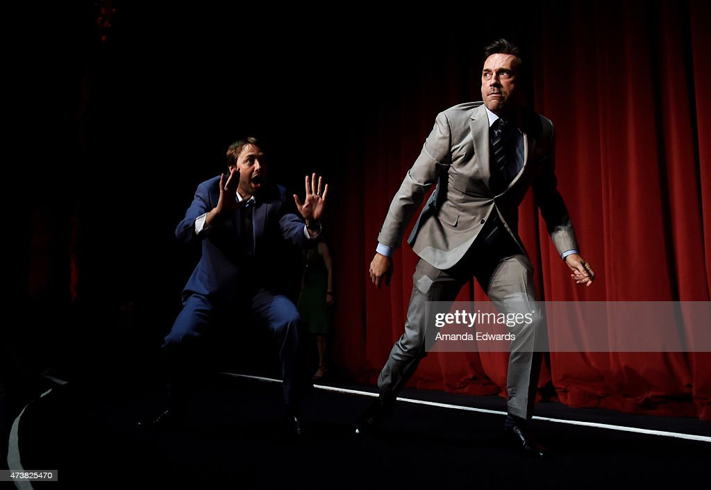 Actors Vincent Kartheiser (L) and Jon Hamm attend the Film Independent at LACMA special screening of the final episode of 'Mad Men' at The Ace Hotel Theater on May 17, 2015 in Los Angeles, California.