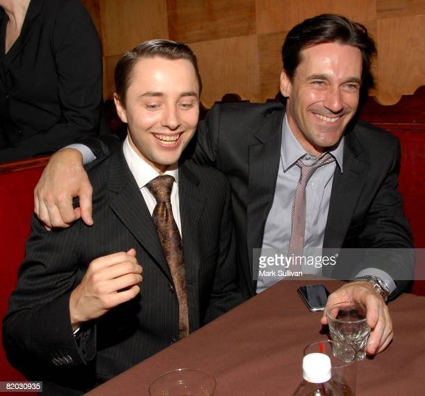 Actors Vincent Kartheiser and Jon Hamm attend the Second Season Of 'Mad Men' premiere after party held on July 21 2008 in Hollywood California